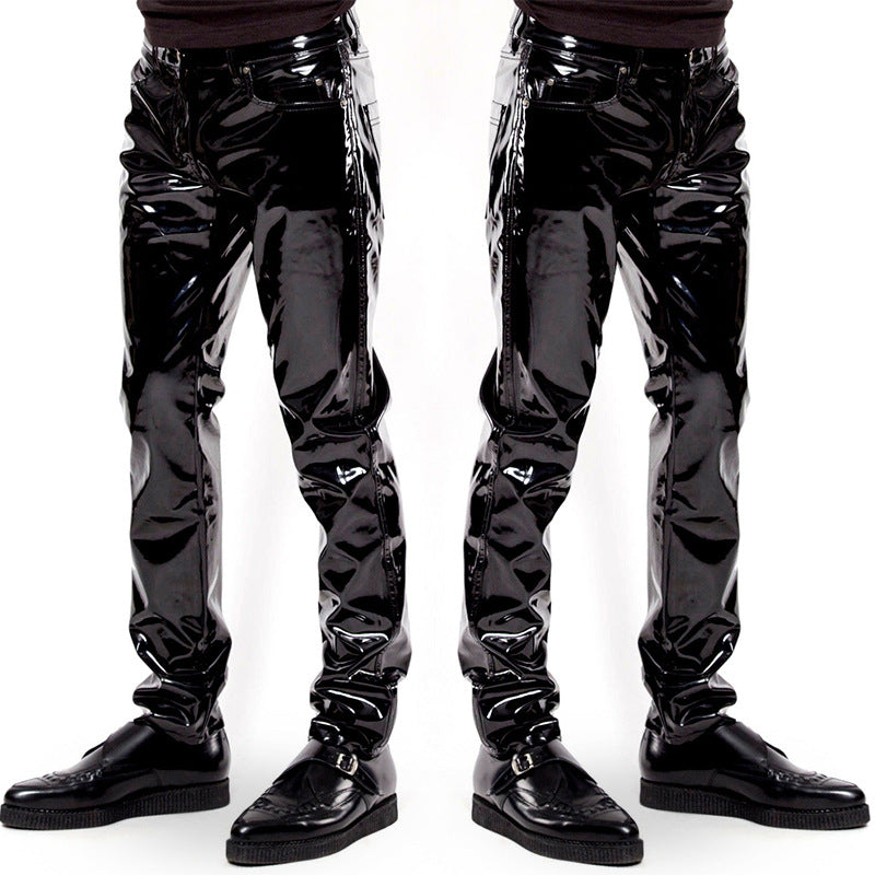 Factory direct European and American sexy underwear high-gloss patent leather men's trousers Bar nightclub stage performance equipment 6005