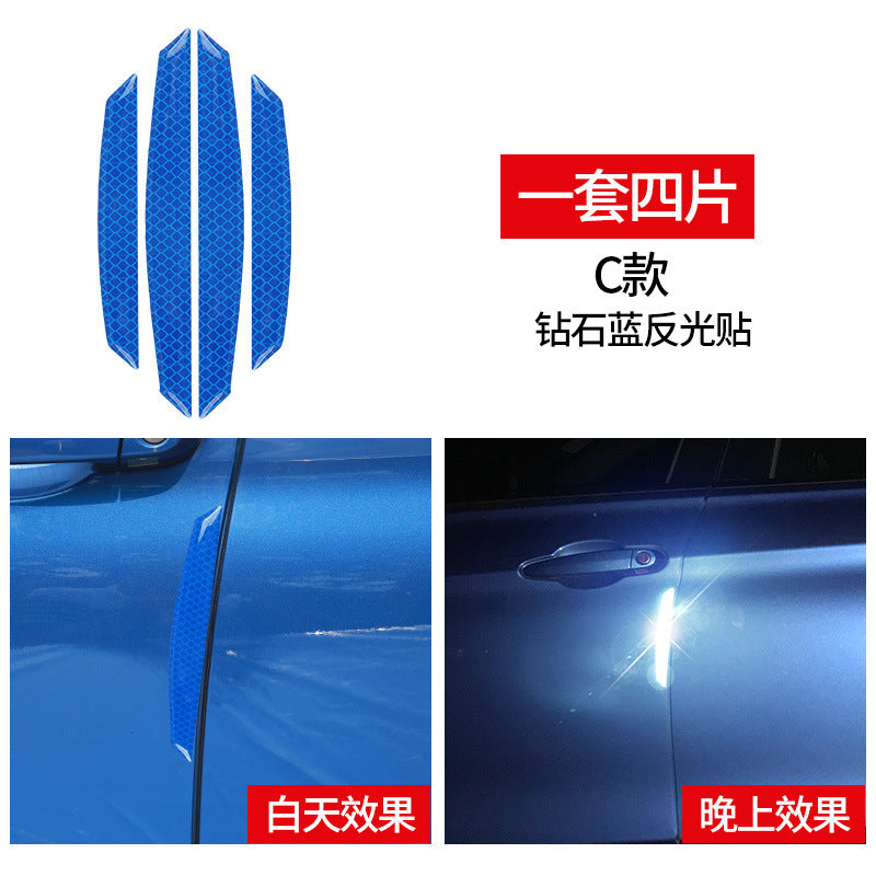 Leopard car reflective warning sticker carbon fiber body decoration scratch-resistant door anti-collision door edge rubbing strip