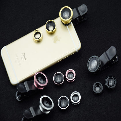 Wholesale mobile phone lens three-in-one 180° fisheye 0.67X wide-angle macro SLR universal mobile phone external lens