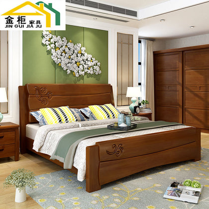 Gold cabinet furniture Chinese solid wood 1.8 meters double bed small apartment simple 1.5 meters high box storage bed bedroom furniture