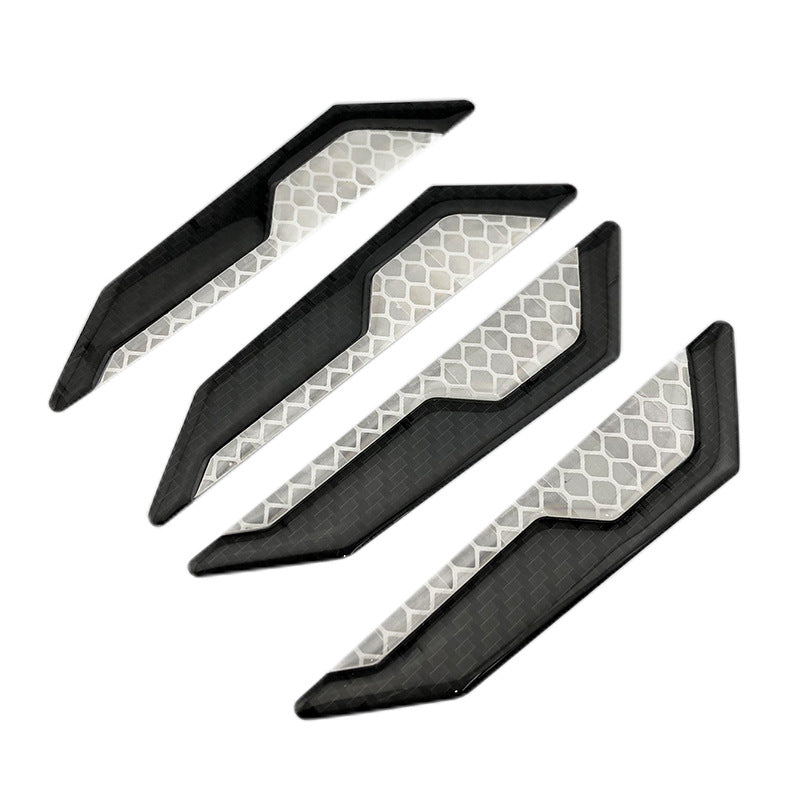Car carbon fiber door anti-collision strips Anti-collision anti-collision anti-friction carbon fiber stickers open safety warning decorative stickers