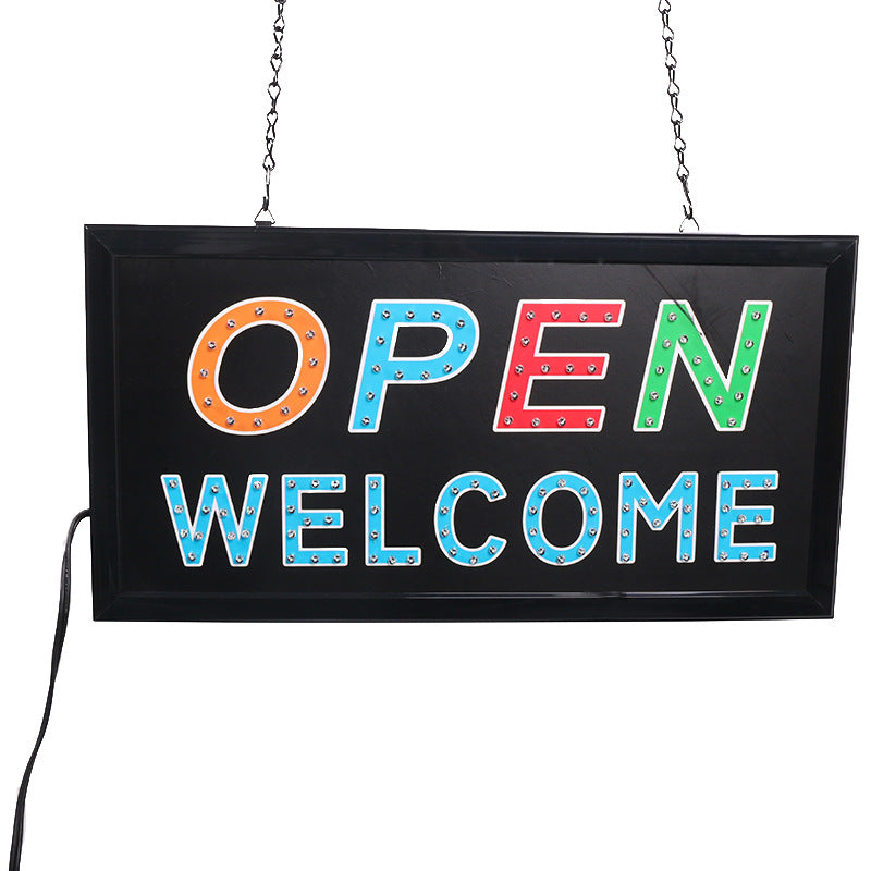Custom SIGN export LED light square hanging billboard open welcome factory direct