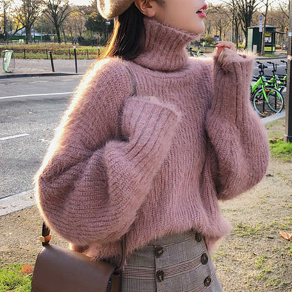 2019 winter new lazy wind furry loose loose mink wool turtleneck women's knitted sweater thick wild