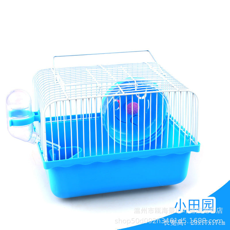 Hamster cage small pastoral single-story small castle small pet portable cage gold bear three-line pudding old man old woman