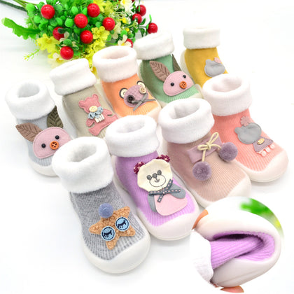 0-3 years old baby plus velvet soft bottom toddler shoes 18 new boys and girls silicone non-slip cotton cartoon baby socks shoes