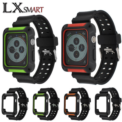 Suitable for Apple anti-fall protection case integrated strap TPU monochrome integrated silicone strap apple watch strap