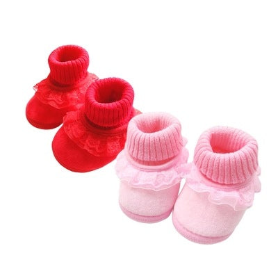 0-12 months female baby princess baby shoes 3 autumn and winter steps shoes and socks soft bottom can not lose 1 year old toddler