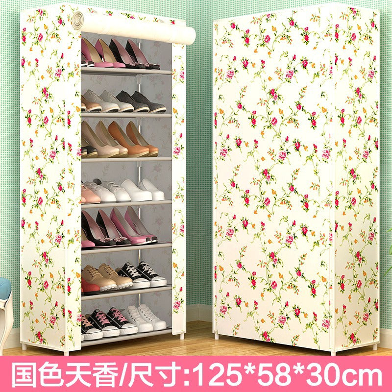 Manufacturers wholesale new simple shoe cabinet shoe rack household dustproof non-woven shoe rack student dormitory economic shoe cabinet