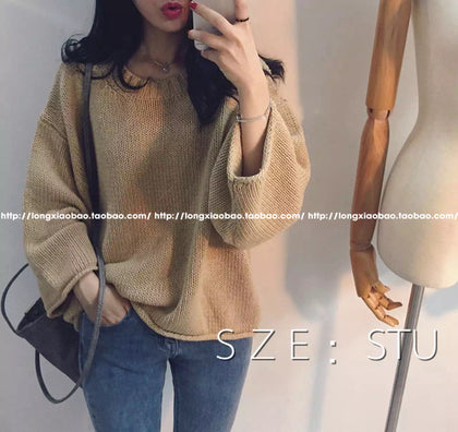 Knitwear women's autumn new product pin loose loose bat sleeve pullover multicolor sweet knitted sweater top