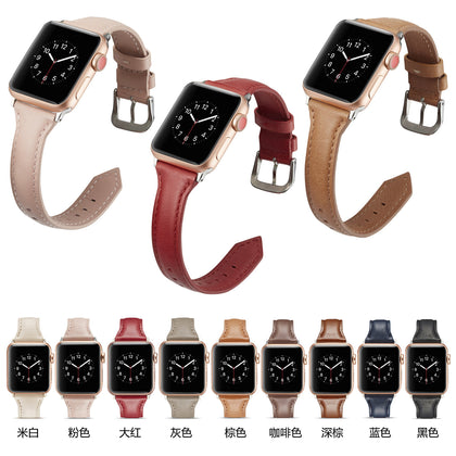 Applicable Apple leather strap iWatch2 / 3/4 buckle T-type head layer leather car line watch strap spot manufacturers
