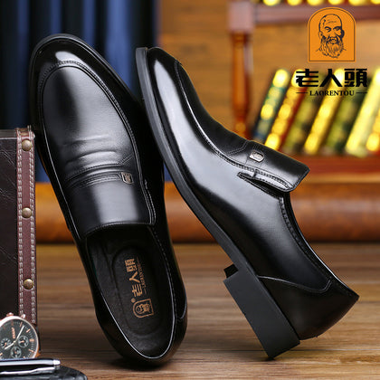 Old man's head men's shoes autumn slip-on shoes men's leather middle-aged business formal wear