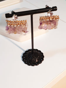 Crystal Beads Mix  Purple Earring