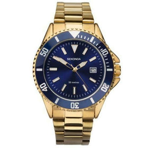 Sekonda 1516 Mens Gold Plated Divers Bracelet watch