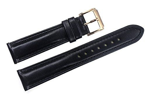 PREMIUM BLACK LEATHER WATCH STRAP 18mm