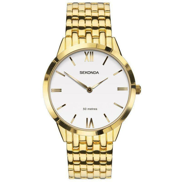 Sekonda 1610 Mens Gold Plated Dress bracelet watch
