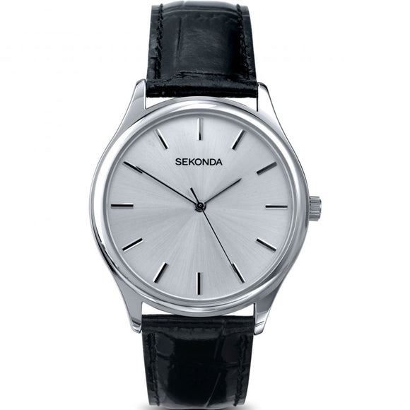 SEKONDA 3099 Black Leather Strap Gents Watch
