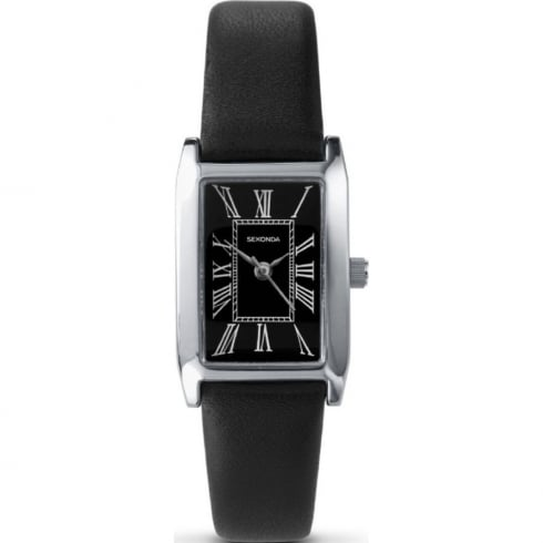 Sekonda 4026 Ladies Analogue Roman Numerals Black Leather Casual Strap Watch