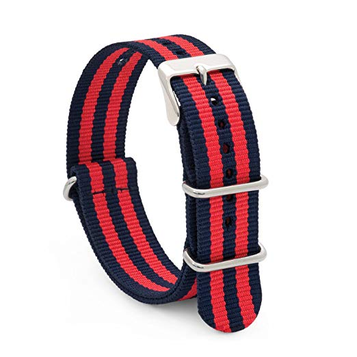 Pandemonium Nato Mod Nylon Watch Strap- Red & Blue Stripes