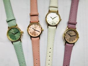 Ravel 10pc Ladies Pastel colour Basic watch on strap Asst`d
