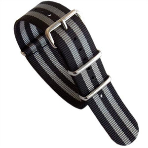Pandemonium Nato Mod Nylon Watch Strap- Black & Grey