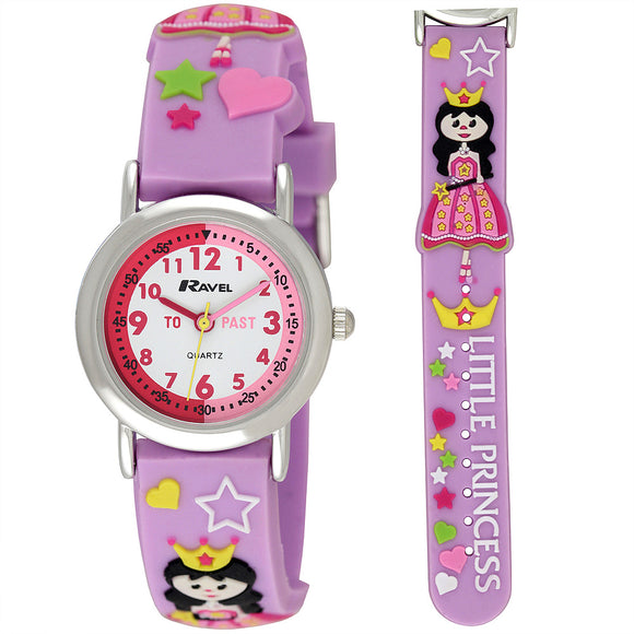 Ravel  R1513.37 Girls-Kids 3D Little Princess Time Teacher White Dial Watch