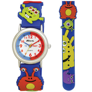 Ravel  R1513.60  Funtime Boys 3D Monsters Design Time Teacher Strap Watch