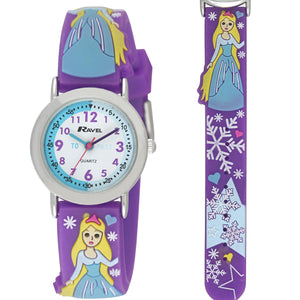 "Ravel  R1513.75 Kids 3D ""Ice Princess"" Time Teacher White Dial Watch"