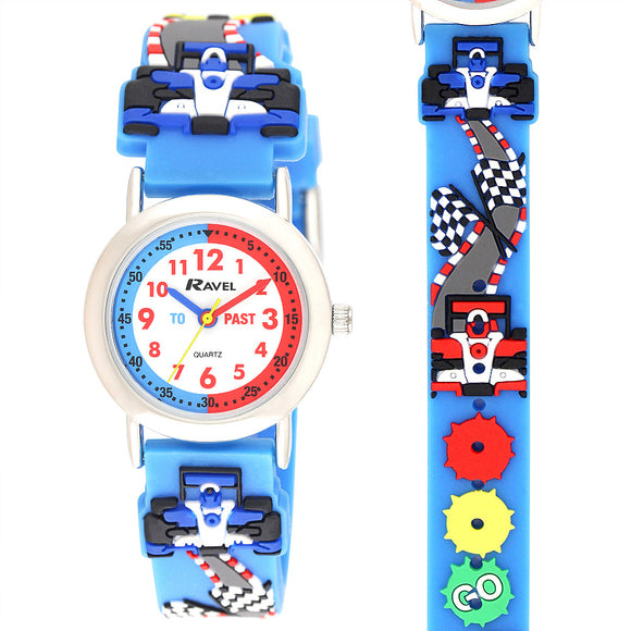 Ravel  R1513.86 Funtime Boys Racing car Design Time Teacher Strap Watch