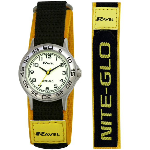 Ravel  R1708.9 Boys Nite-Glo Luminescent Black & yellow Velcro Strap Watch