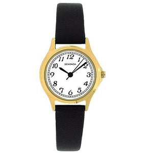 Sekonda 4134 Ladies Analogue Gold Plated White Dial Black Strap Casual Watch