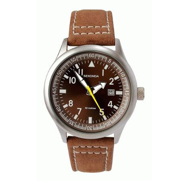 Sekonda 3882 Gents Brown Dial Date Strap WR Watch