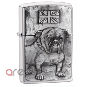 Zippo 200BULL Lighter Bulldog Emblem Brushed Chrome