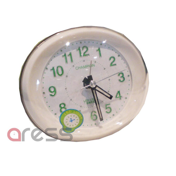 Champion green LED Light Silent Sweep Alarm Clock Quartz Analogue Silver