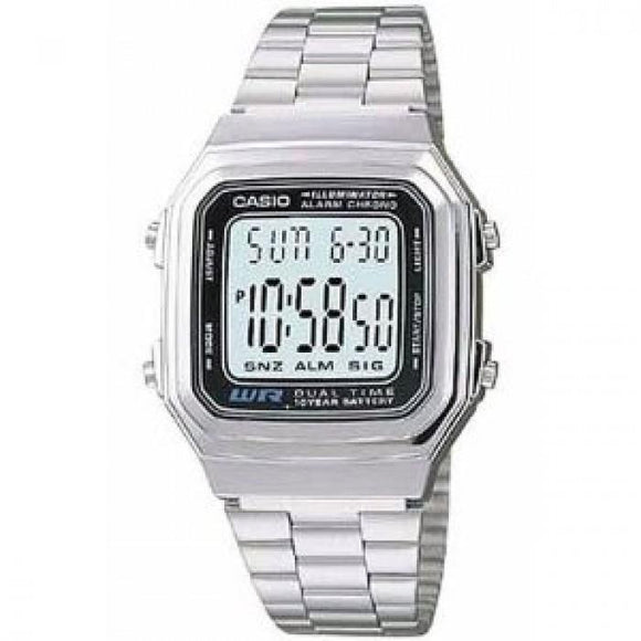 Casio Mens A178WA-1A Silver Stainless-Steel Quartz Watch with Grey Dial