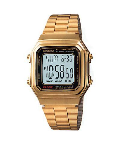 Casio A178WGA-1ADF Digital Alarm LED Light Chrono Gold or silver Tone Gents Watc