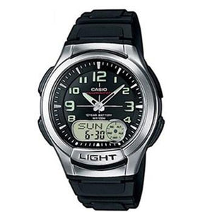 CASIO ANALOG-DIGITAL AQ-180W-1BV BLACK TELE-MEMO WORLD TIME 100M WR