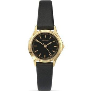 Sekonda 4141 ladies Analogue Gold Plated Black Dial Black Leather Strap Watch