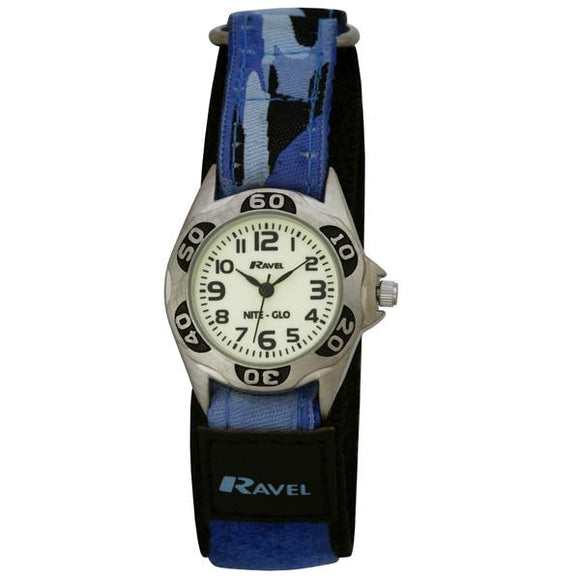 Ravel R1507.6 Boys Nite-Glo Luminescent Blue Camo Velcro Strap Silver Watch