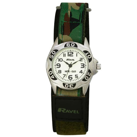 Ravel  R1707.11 Nite-Glo Quartz Luminous Dial Green Camouflage Velcro Boys Watch
