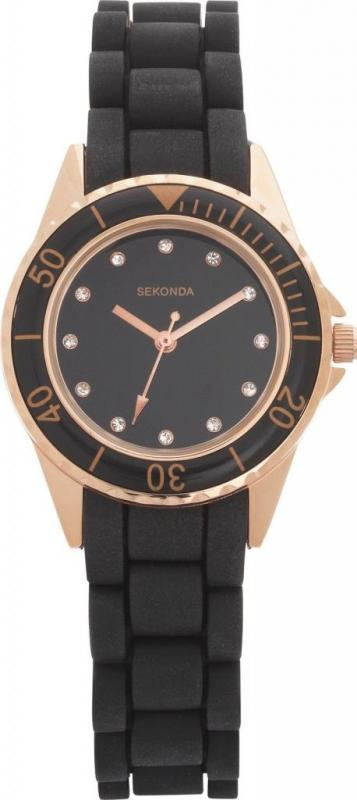 Sekonda 4743 Ladies Stone Set Black Dial Rubber Strap