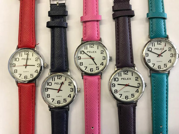 Pelex 10pc Basic Quartz on COLOURED Strap
