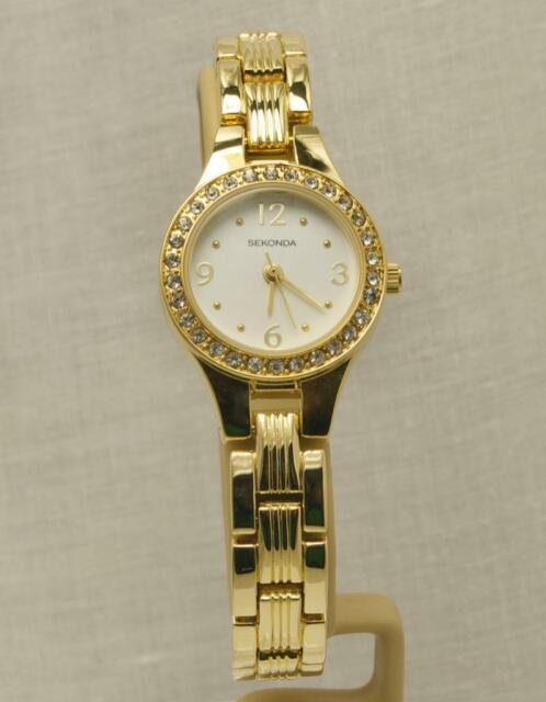 Ladies Sekonda 2696 Gold Tone Crystal Set Bezel White Dial Watch