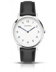 Sekonda 1346 Gents Quartz White Dial Black Leather Upper Strap Watch