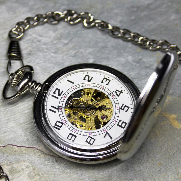 Mechanical Skeleton Pocket Watch