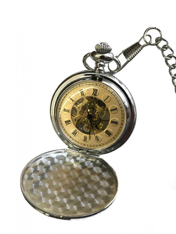 Roman Deluxe Skeleton Pocket watch 2-Tone