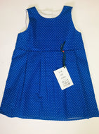Blue and White Spots Dress 12-18 Months