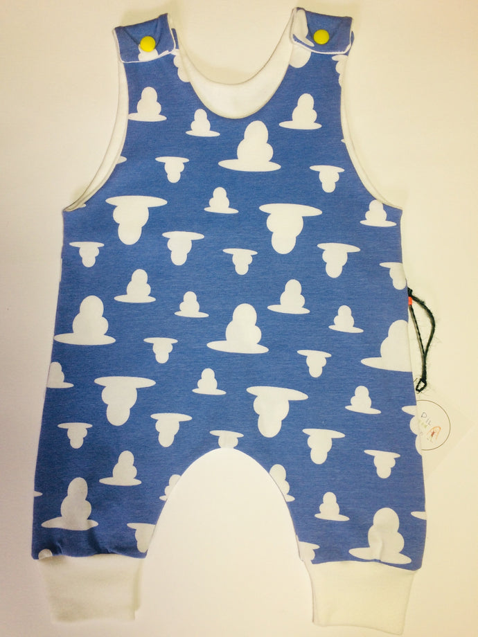 Blue and White Cloud Romper 0-3 Months