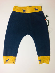 Blue and Yellow Deer Harem Leggings 6-9 Months