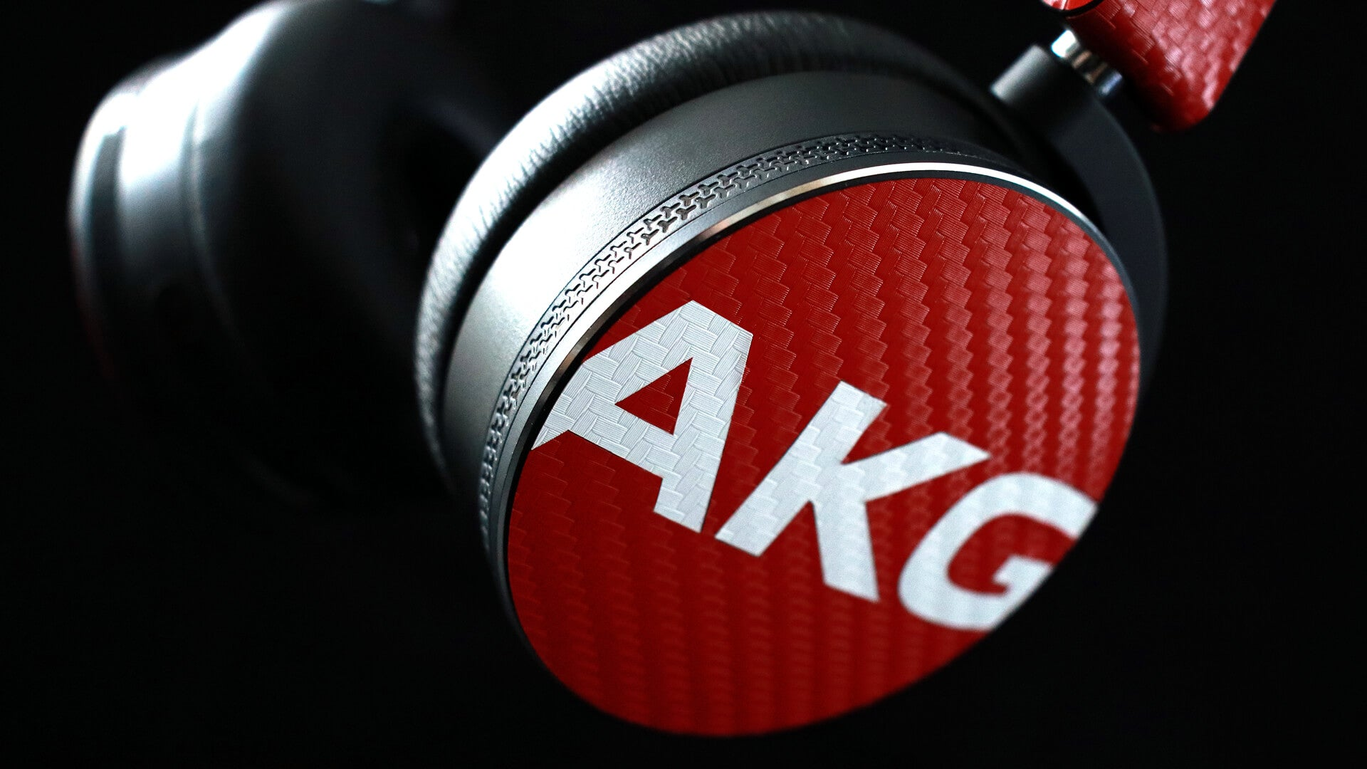 AKG Y50 Headphone Red Carbon Fibre Skins