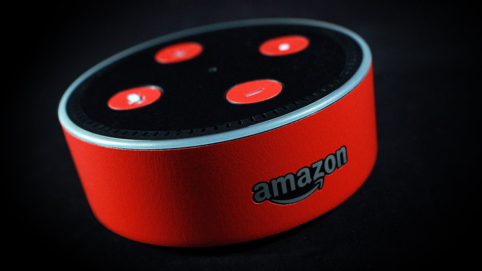Amazon Echo Dot Red Leather Skins